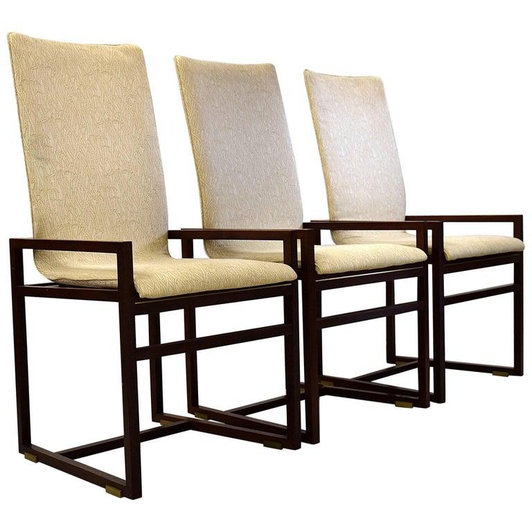 Six Saporiti 1980s Walnut Dining Chairs