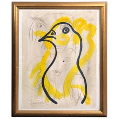 Peter Keil Expressionist Oil Painting of a Bird, Framed