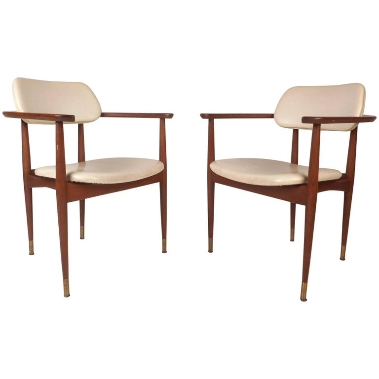 Pair of Mid-Century Modern Walnut Armchairs