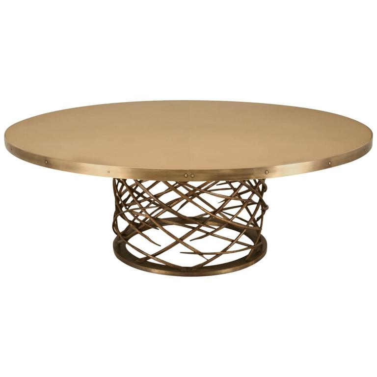 Custom Made Woven Solid Bronze Table Base 1