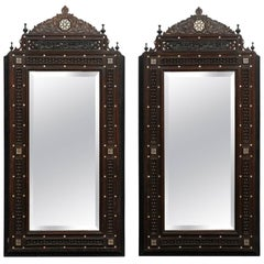 Pair of Syrian Hand-Carved Mirrors with Mother-of-Pearl Inlay, circa 1900