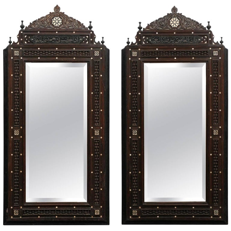 Pair of Syrian Hand-Carved Mirrors with Mother-of-Pearl Inlay, circa 1900 For Sale