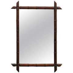 French Faux-Bamboo Rectangular Mirror from the 1930s with Dark Brown Color