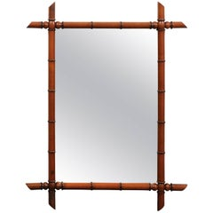 French Rectangular Faux-Bamboo Frame of Brown Color from the 1930s