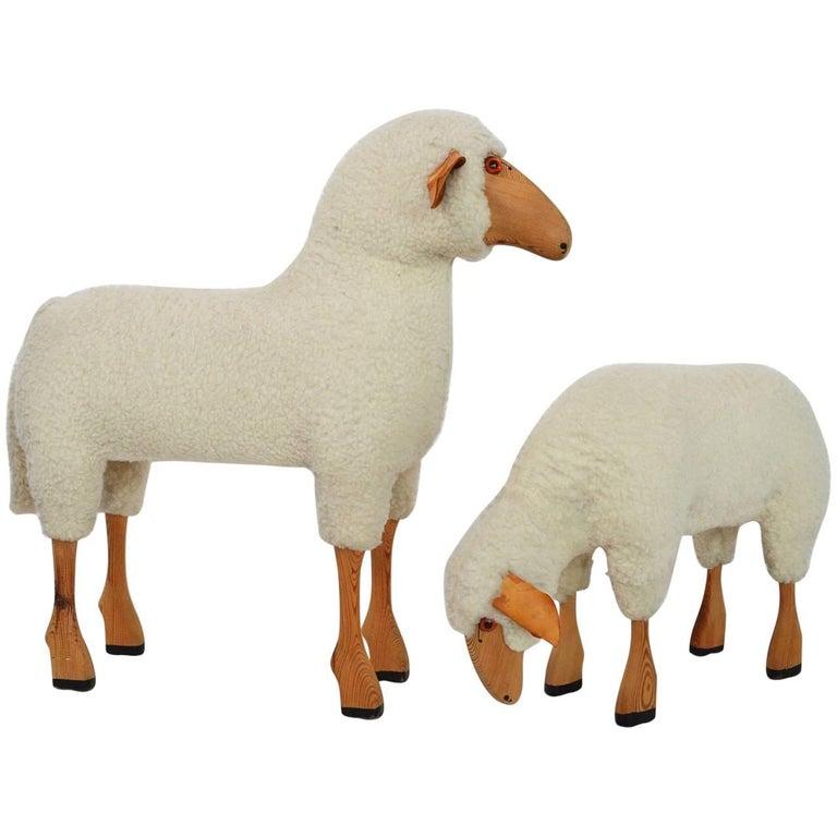Vintage Lifesize Sheep Set of Two, 1970s