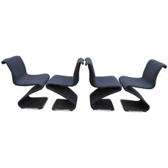 "Fun Set of Four Midcentury ""S"" Chairs Designed by Verner Panton"