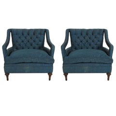 Pair of Glamorous Hollywood Regency Lounge Chairs
