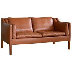 Børge Mogensen Style Two-Seat Sofa in Cognac Leather by Stouby Mobler, Denmark