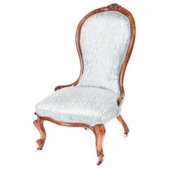 Antique Victorian Carved Walnut Ladies Chair