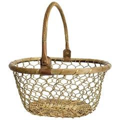 Brass Woven Handled Basket