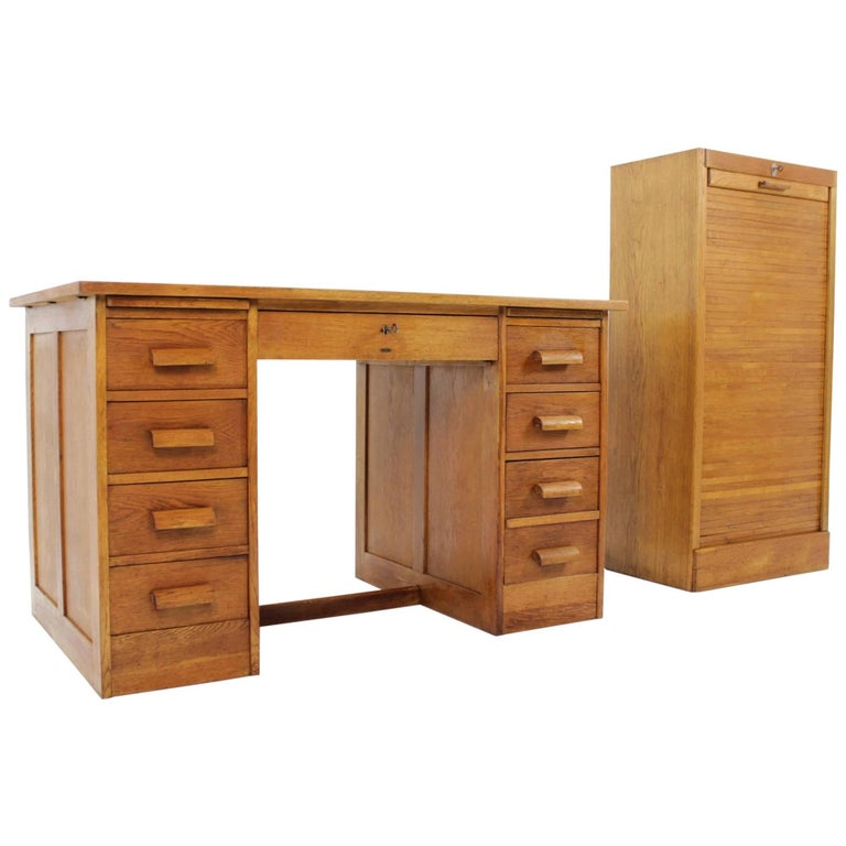 Art Deco Desk and Card File Cabinet from Thonet, 1930s