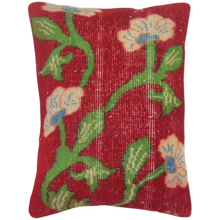 Vintage Turkish Floral Rug Pillow