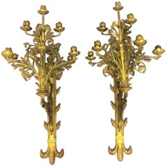 Pair of Monumental  Bronze Wall Sconces, France, 19th Century