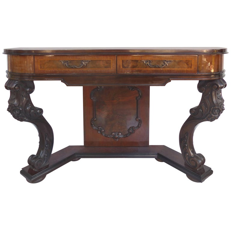 Carved Two-Drawer Console Table with Mahogany, Satinwood and Ebonized Wood