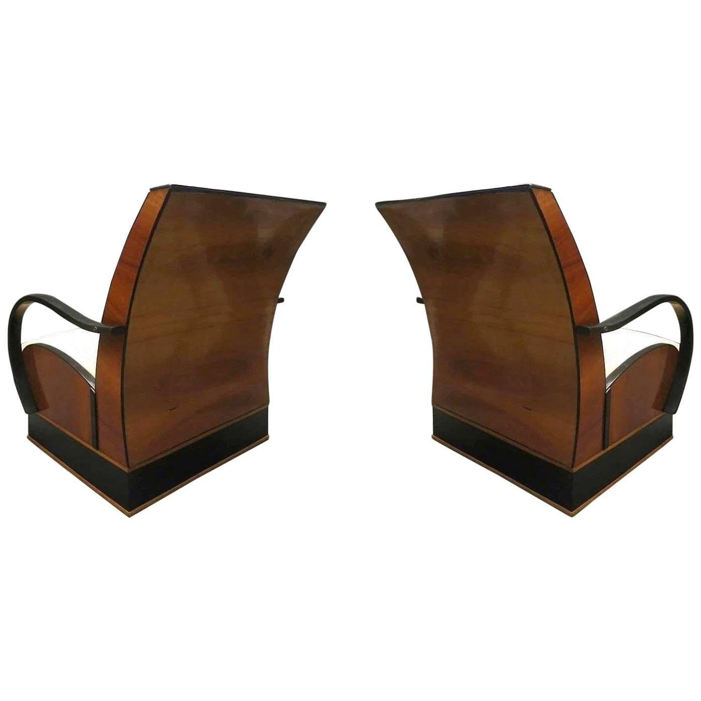 Pair of Art Deco Walnut Wood and Velvet Fabric Italian Armchairs, 1940