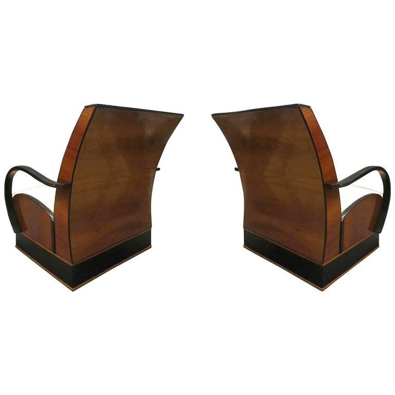 Pair of Art Deco Walnut Wood and Velvet Fabric Italian Armchairs, 1940 For Sale