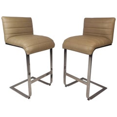 Pair of Milo Baughman Cantilever Bar Stools