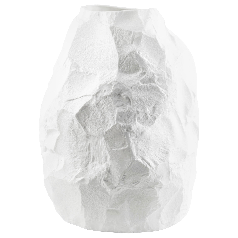Modern Ceramic Oversized Vase with Closed Top in White, Big Vase 2
