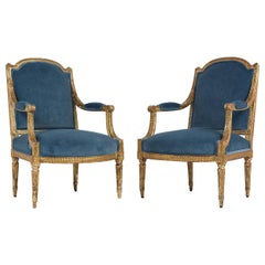 19th Century French Louis XVI Style Giltwood Bergeres