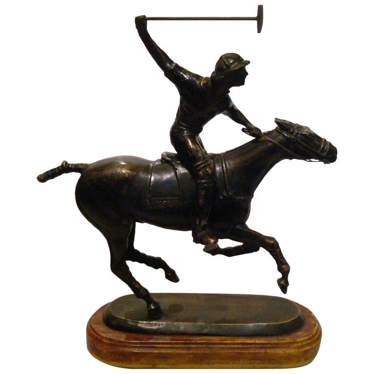 Polo Player over a Horse Bronze Sculpture, Argentine