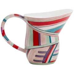 Hand-Painted Ceramic Festival Jug with Exaggerated Curves and Colored Stripes