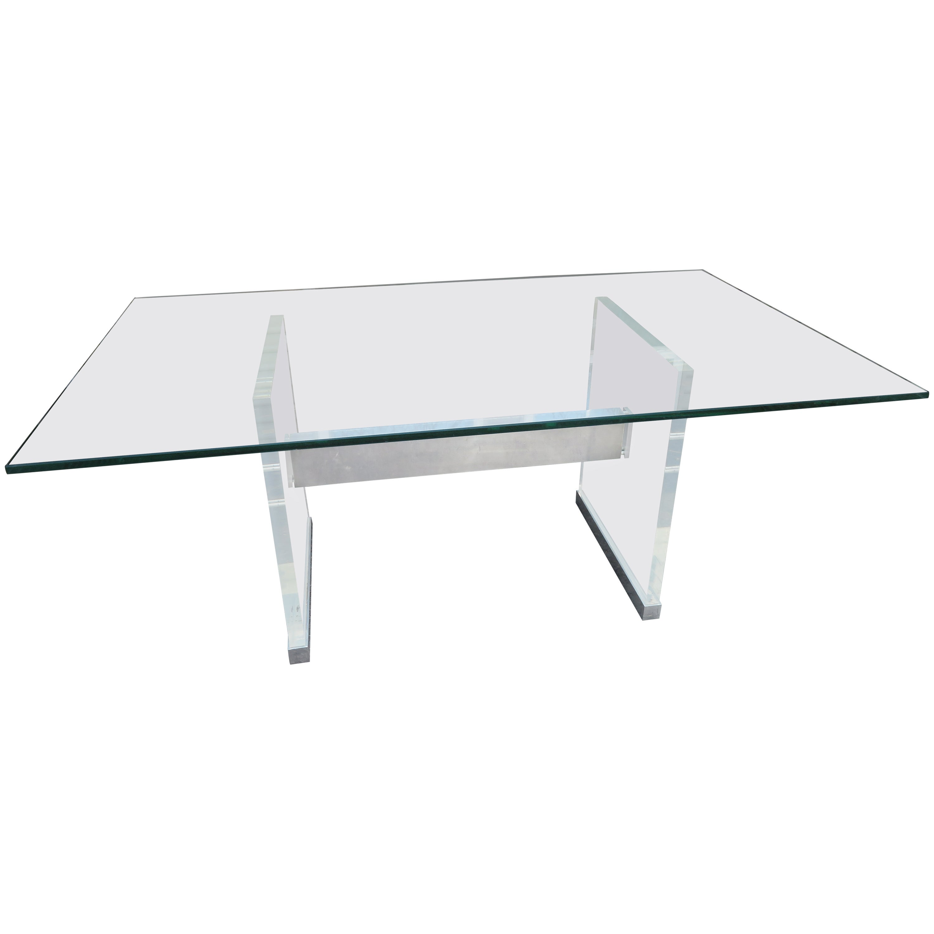 Chunky Thick Lucite Aluminium Dining Room Table Desk Mid-Century Modern