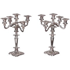 Pair of Antique Silver Plated Five-Branch Candelabras