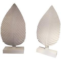 Pair of Plaster Leaf Lamps
