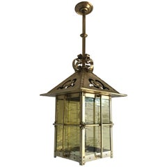 Late 19th Century Arts & Crafts Brass & Glass Lantern Pendant and Light Fixture