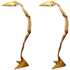 Monumental Art Deco Revival Female Nude Gilt and Silvered Bronze Floor Lamps