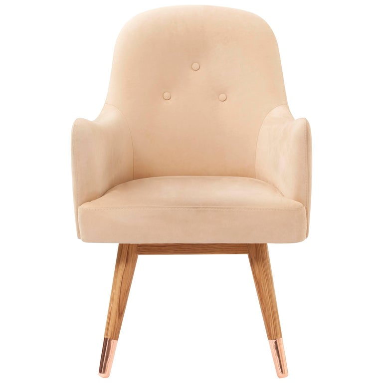 Contemporary American White Oak Dandy Chair with Beige Suede Leather and Copper