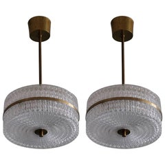 Pair of Glass and Brass Pendants, Sweden, 1960s
