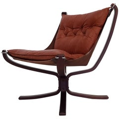 Vintage Low-Backed X-Framed Sigurd Ressell Designed Falcon Chair, 1970s