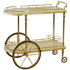 Aldo Tura Attributed 1950s Bar Cart, Trolley or Stand in Cream Italian Goatskin