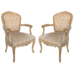 Louis XV Style Provincial Fauteuil Armchairs with Velvet Upholstery, Pair