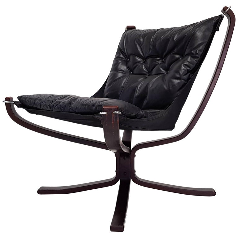Vintage Low-Backed X-Framed Sigurd Ressell Designed Falcon Chair, 1970s For Sale