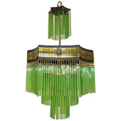 French Art Deco & Art Nouveau Amber Beaded & Green Glass Fringe Gilt Chandelier