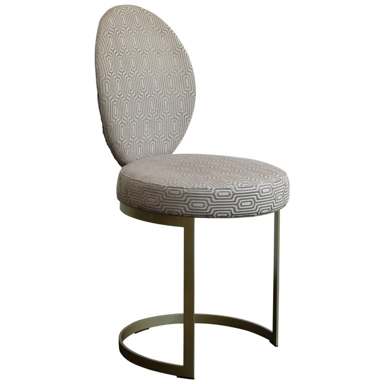 Ola Dining Chair with Brass Finishing and Rose Fabric, Contemporary Art Deco