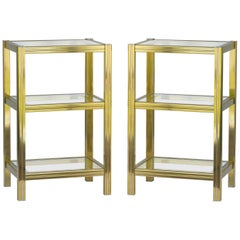 Pair of Side Tables Nightstands Bedside Tables Italian Midcentury Brass Glass