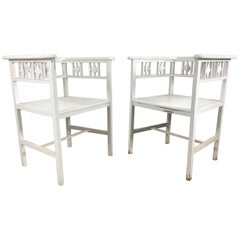Pair of White Painted Austrian Cube Chairs in the Manner of Josef Hoffmann