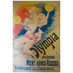 """French Color Lithograph """"Olympia, Anciennes Montagnes Russes"""" Jules Chéret, 1892"""