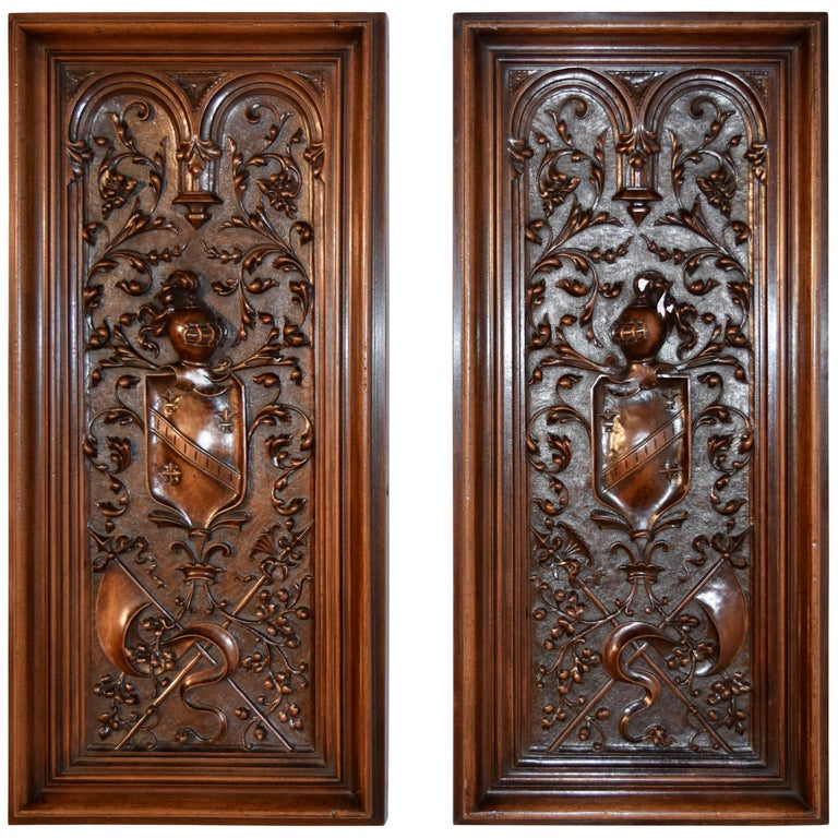 Late 19th Century Pair of Carved Panels