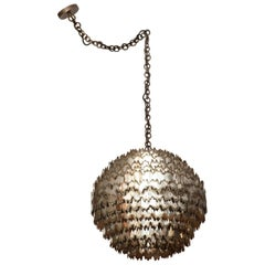Large Torch Cut Chrome Brutalist Orb Pendant by Tom Greene for Feldman Lighting