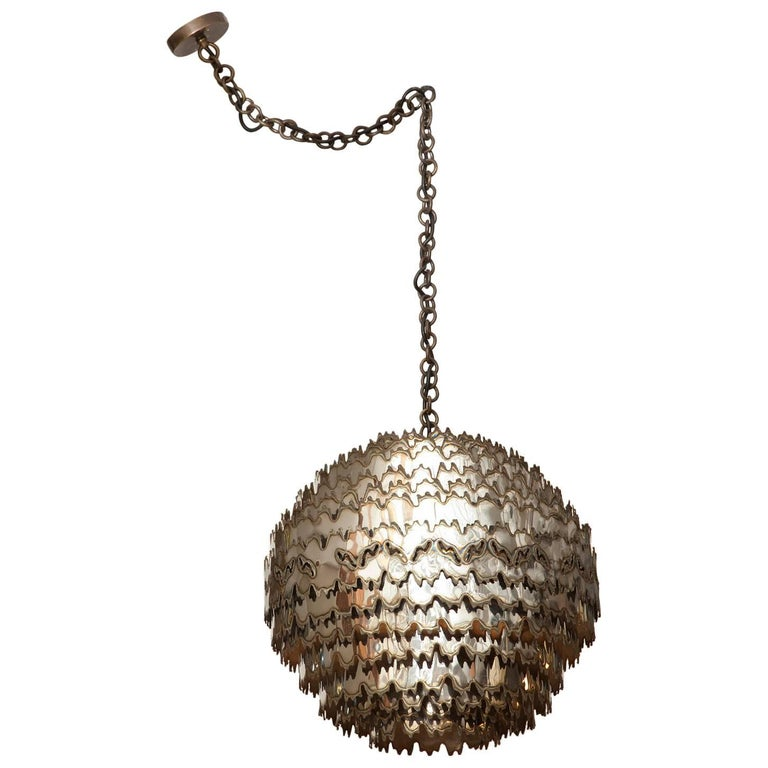 Large Torch Cut Chrome Brutalist Orb Pendant by Tom Greene for Feldman Lighting For Sale