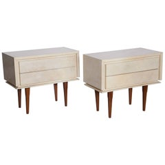 Pair of French Parchment Nightstands, circa 1960