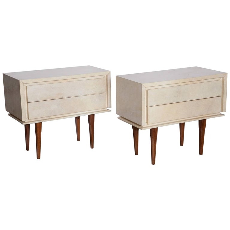 Pair of French Parchment Nightstands, circa 1960 For Sale