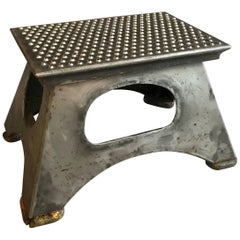 Industrial Brushed Steel Train Conductor Step Stool