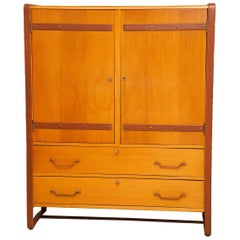Large Cherrywood and Leather Cabinet by Jacques Adnet, circa 1950