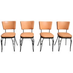 ON SALE NOW! Set of Four Retro Peachy Vintage 1950s  Vinyl Midcentury Chairs