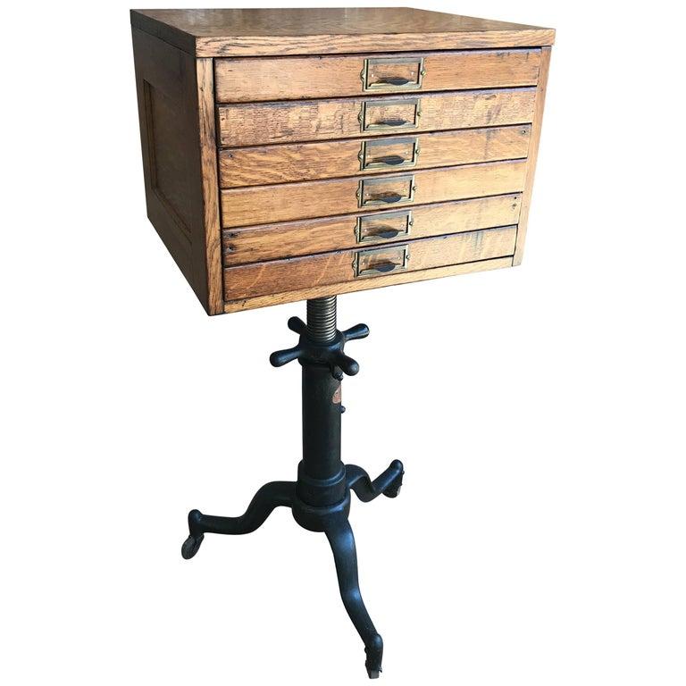 Custom Industrial Oak Flat File Cabinet on Cast Iron Pedestal Base
